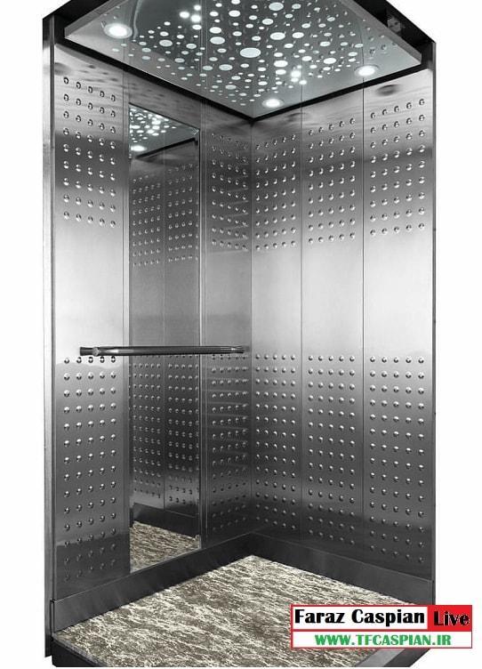 کابین استیل نقره ای آسانسور