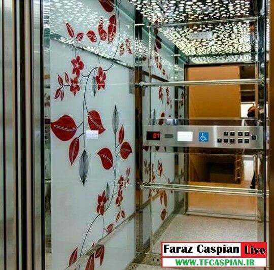 کابین آسانسور شیشه طرحدار