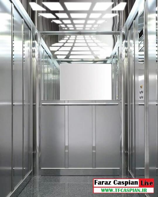 کابین آسانسور استیل نقره ای